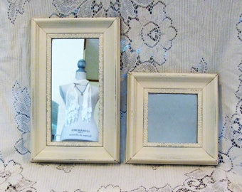 Framed Wall Mirrors,  Pair of Wood Framed Antique White Vintage Wall Mirrors, Square and Oblong Mirrors