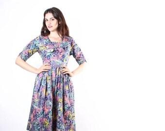 On SALE 40% Off - 1950s Pastel Watercolor Cotton Dress   - 1950s Dresses - 50s Cotton Dresses - The Monet Dress - 60