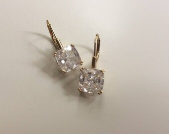 Stunning 14k gold cz dangle drop earrings