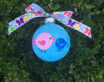 Little Chicks Ornament - Personalized Ornament - Hand painted Ornament, Big Sister, Big Sister, Little Sis, Little Brother, New Baby Bauble