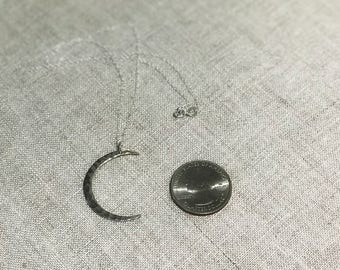 Crescent Moon Sterling Silver Necklace Love Necklace-Free Shipping