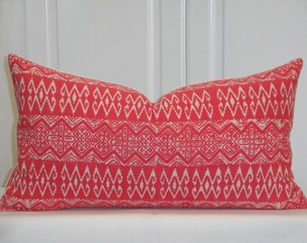 Tribal Decorative Pillow Cover - NEW fabric - Hmong Pillow - Hibiscus Pink Batik Cotton - Hand Stamped -  Accent Pillow - Toss Pillow