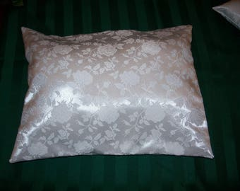 """White Satin  Brocade Boutique Traveling Pillow With Removable Cover    ( 15 /1/2"""" X 10 1/2"""" )"""