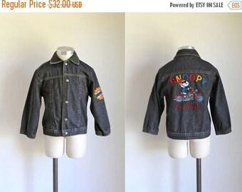20% off SALE vintage toddler's denim jacket - SNOOPY beagle biker club jean jacket / 6/7x