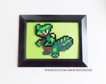 Sceptile (Pokemon) Framed Pixel Sprite Room Decoration Art *Clearance*
