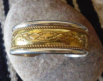 Sterling and Gold, Southwest Silver Cuff, Sterling Bracelet, Vintage Silver Cuff