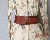 chestnut braided leather belt   wide cinch belt   leather DKNY belt