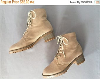 25% OFF SALE... nude fabric tall combat boots | grunge skinny lace up boots | 8.5
