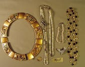 RESERVED FOR LAURA - Vintage Lot Monet Signed 3 Necklaces Bracelet Hummingbird Pin Stained Glass Window Necklace 9273