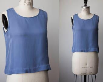 Vtg Blue Simple Cropped Tank Camisole Crepe Top Minimal Minimalist Basic 90s S