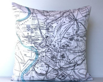 SALE SALE SALE Cushion cover pillow Rome map pillow organic cotton pillow cushion, throw pillow, 16inch cushion cover