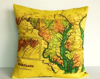 SALE SALE SALE map cushion, Maryland map organic cotton cushion decorative pillow  cover pillow cover 16 inch 40cmx40cm