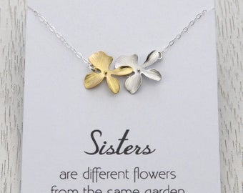 3 Day SALE Personalized Sisters Flower Necklace, Sister's Birthday, Wedding Gift for Sisters, Bridal Orchid Flower Necklace for Sisters
