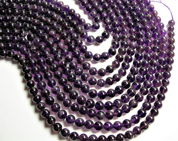 Amethyst - 8 mm round - 1 full strand - 50 beads - A quality - RFG1210