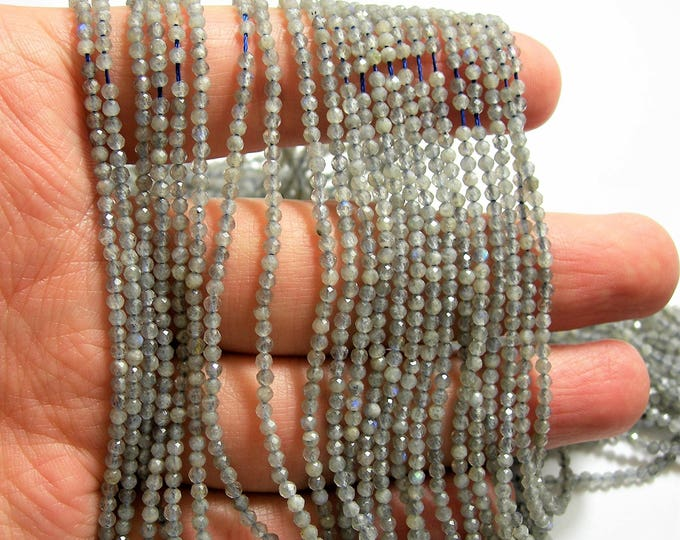 Labradorite - 2mm faceted round beads - full strand - 180 beads - micro faceted labradorite  - PG132