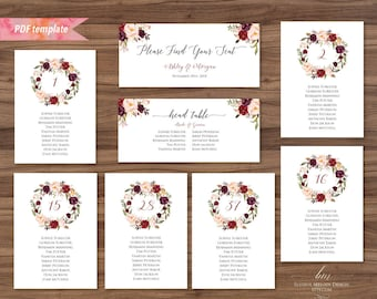 Printable Burgundy Floral Seating Plan, Editable PDF Seating Chart Template, Rustic Boho Seating Card Table Cards, DIY Instant Download #01