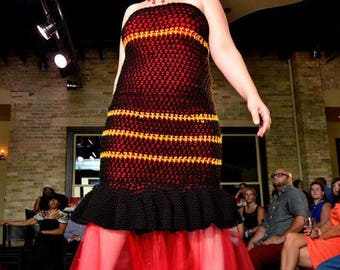 size large (12-14): Handmade One-of-a-Kind designer Black w/ Orange Striped Crochet Dress with Tulle Skirt- Red lined- strapless