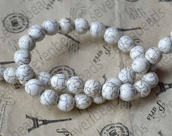 8mm White Charm Round turquoise stone beads,Turquoise round Free Turquoise Gemstone Beads loose strands