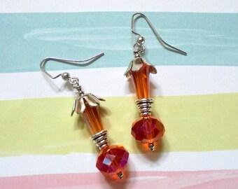 Orange and Silver Crystal Earrings (3684)