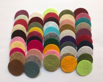 Wool Felt Circles Die Cut 50 - 1 inch Random Colored 4103 - DIY Felt - Merino Felt - Arts and Crafts - Hair Clip Supply - Die Cut Felt