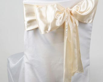 Twenty Four (24) Satin Chair Sashes 6 in x 106 in - IVORY - Great for weddings or parties