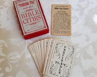 Vintage Bible Cities Card Game No. 3 By Profitable Play Complete With Box & Instructions, 36 Religious Playing Cards Deck By Nellie T. Magee