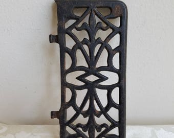 Vintage Iron Stove Door Plate, Ornate Black Grate Vent With Fleur de Lis, Salvage Metal Wall Hanging