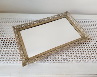 Vintage Vanity Tray Mirror Footed Gold Whitewashed Ornate Filigree Embossed Metal 9.5 x 14.5 Rectangle, Mid Century Hollywood Regency