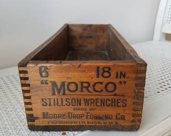 "Antique Wood Box ""Morco"" Stillson Wrenches Advertising By Moore Drop Forging Co. Springfield, Mass. USA, Industrial Tool Hardware Storage"