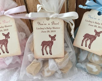 Deer Favor Bags Deer Baby Shower Favor Bags You're a Deer Organza Bags Tags Set of 10