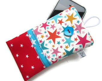 Cellphone case, pouch, smartphone, all and turquoise colored stars