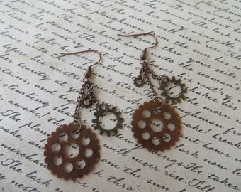 Copper Toned Metal Steampunk Gear And Chain Earrings