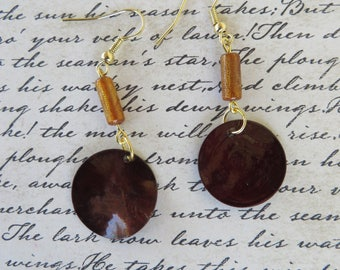 Brown Mussel Shell And Amber Glass Beaded Earrings
