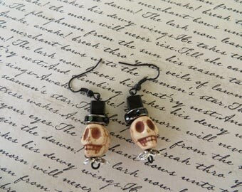 Skulls With Top Hats Beaded Earrings