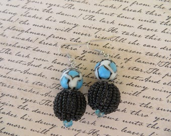 Aqua White And Black Painted Glass And Black Seed Bead Studded Dangling Earrings