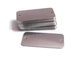 1 5/8 x 3/4 -rectangle blanks- bracelet id tags - 20G - hand stamping blanks -metal blanks - pre punched holes - tumbled