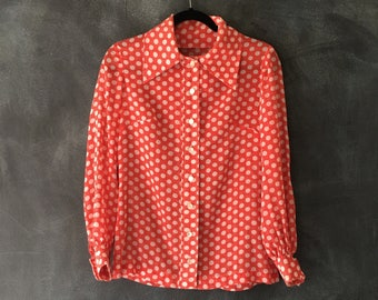 60s 70s Sheer Red Polka Dot Blouse Wide Collar Hippie Boho Oxford Button Down Shirt Ladies S/M