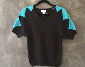 80s Short Sleeve Geometric Abstract Color Block Angora Silk Fuzzy V neck Cap Sleeve Knit Ladies M