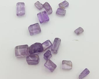 Amethyst Tube Beads, Purple Beads, Natural Gemstone Beads, Rectangle Beads, Beads for Jewelry Making, Smooth Tube Beads, Amethyst Bead