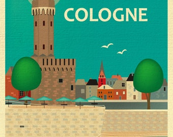Cologne Skyline Print, Cologne Germany art, Cologne Print, Cologne Room Art, Cologne Art, Cologne Print, Malakoff Tower art, style E8-O-COLO