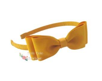 Mustard Gold Headband for School Uniform/Gold Hair Band/Gold Hair Bow on Hard Headbands/Toddler Headbands/Girls Headband/Fall Photo Props