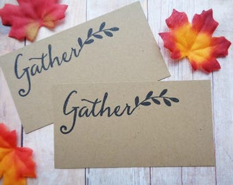 Place Cards Gather Thanksgiving Rustic Autumn Brown Kraft Christmas Seating Name Card Wedding Dinner Party