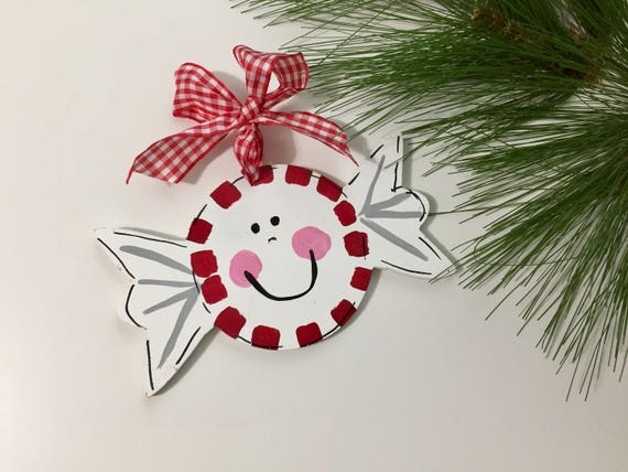 Personalized, Christmas candy ornament,  Hand painted, peppermint ornament, candy ornament, personalized kid's ornament, Christmas ornament