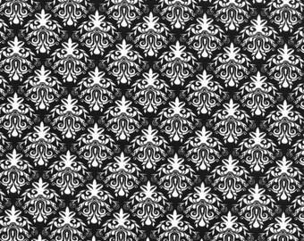 1 Yard - Black Damask Print - Cotton Fabric - by the yard