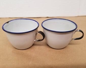 Pair of Vintage Enamelware Cups
