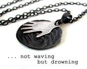 DROWNING unique literature jewelry, black ocean necklace, poetry jewelry, unusual necklaces, literary jewelry