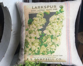 Grain Sack Pillow Cover Larkspur  by Gathered Comforts