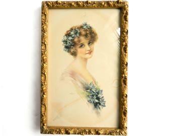 Antique Cornflower Blue Lady Cosmopolitan Cover - Signed J. Knowles Hare - Pastel Color Lithograph Portrait Picture - Gold Wood Gesso Frame