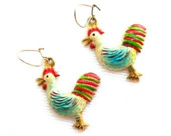 Vintage Creamy White Red Teal Enamel Rooster Pierced Earrings - Gold Wire Dangle Earrings - Signed KOREA