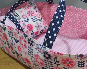 Doll Carrier, Pink and Navy Flowers, Will Fit Bitty Baby and Wellie Wisher Dolls, 16 Inches Long, Doll Basket